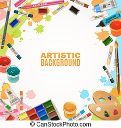 Artistic Background With Tools For Paintings