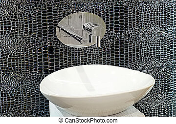 Artistic style oval basin with special mirror tiles
