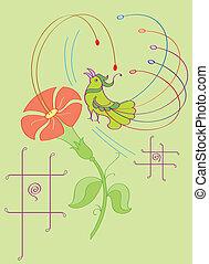 Artistic Bird With Flower