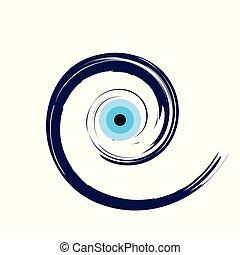 artistic blue evil eye vector illustration