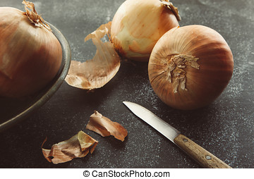 Artistic close up of onions.
