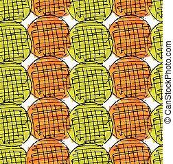 Artistic color brushed orange green circles