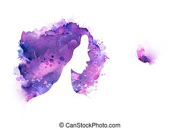 Artistic creative abstract image created by purple, violet,lilac blotch and stains. Beautiful woman admires butterflies.