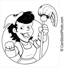Housekeeper(servant) Vector - Artistic Creative Conceptual...