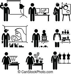 A set of pictograms showing the professions of people in the artistic industry.