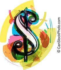 Artistic Dollar Symbol vector illustration