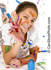 Artistic Endeavour - Beatutiful 9 year old girl covered in...