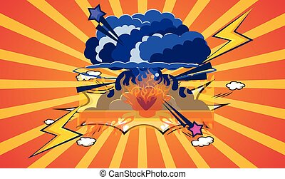 artistic explosion with bomb in air on abstract background