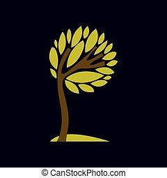Artistic fantasy illustration of tree, stylized ecology symbol. Graphic design vector image on season idea, nature theme.