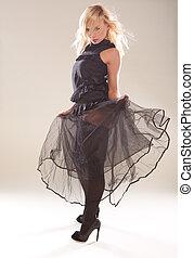 Artistic Fashion Model In Black