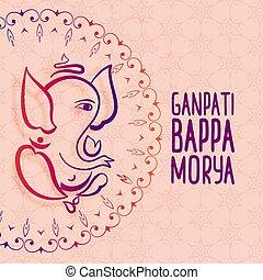 artistic festival greeting of ganesh chaturthi
