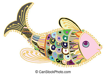 Artistic fish. Artistic colored fish illustrated card
