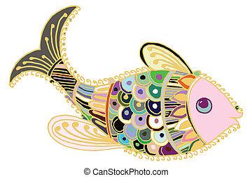 Artistic fish. Artistic colored fish illustrated card