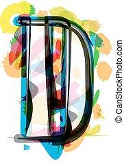 Artistic Font - Letter D - Artistic Font vector Illustration...