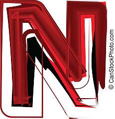 Artistic font letter N