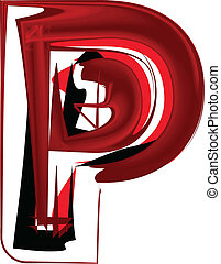 Artistic font letter P