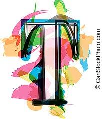 Artistic Font - Letter T - Artistic Font vector Illustration...