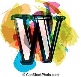 Artistic Font - Letter w - Artistic Font vector Illustration...