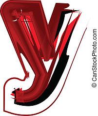 Artistic font letter y