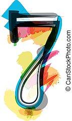 Artistic Font - Number 7 - Artistic Font vector Illustration...