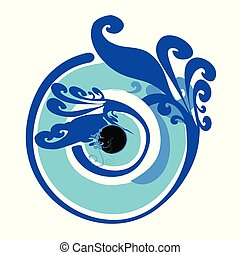 artistic greek blue evil eye vector illustration
