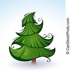 Artistic green Christmas tree