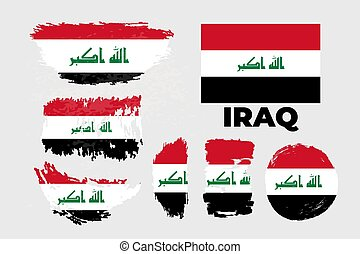 Artistic grungy brush flag of Iraq country. Happy independence day of Iraq