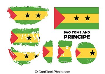Artistic grungy watercolor brush flag of Sao Tome and Principe country. Happy independence day of Sao Tome and Principe background. Vector illustration