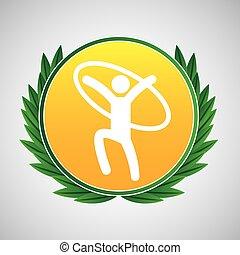 artistic gymnastic ring symbol label laurel wreaths