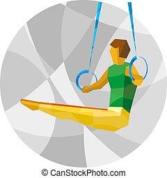 Artistic Gymnastics - athlete on rings