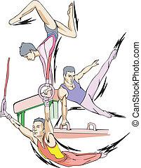 Artistic gymnastics: Balance beam, Pommel horse, Rings. Set...