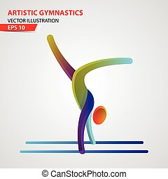 Artistic Gymnastics color sport icon design Template