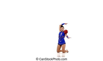 Artistic gymnastics with a ball, slow motion