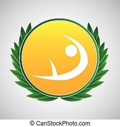 artistic gymnatic symbol label laurel wreaths