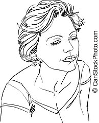 Artistic hand-drawn image, black and white portrait of delicate stylish sorrowful girl. Emotions theme illustration.