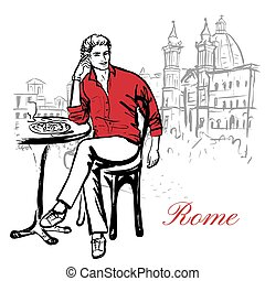Artistic hand drawn sketch of man sitting in cafe on street in Rome, Italy