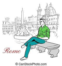 Artistic hand drawn sketch of man sitting on bench in Rome, Italy