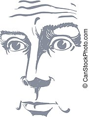Artistic hand-drawn vector image, black and white portrait ...