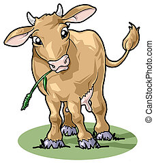 Cute smiling cow. Cartoon style - Artistic illustration. ...
