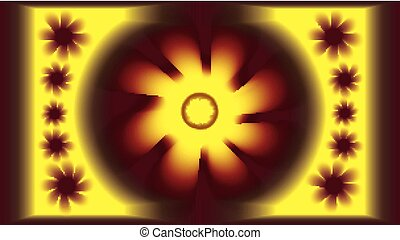 artistic image of the sun on a dark background with patterns