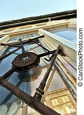 Artistic Industrial Window Bars - Low and wide angle view of...