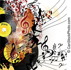 Artistic music background with viny