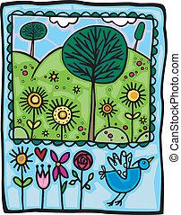 An artistic illustration of a Springtime nature scene.