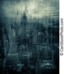 Artistic NYC - Artistic rendition of New York City with...