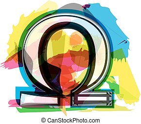 Artistic omega sign vector illustration