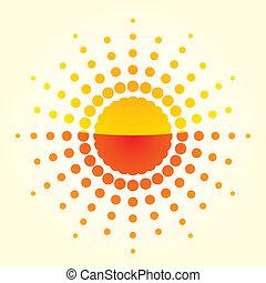 Artistic orange sun illustration with light background
