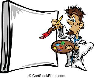 Artistic Painter Painting Canvas Cartoon Vector Illustration...