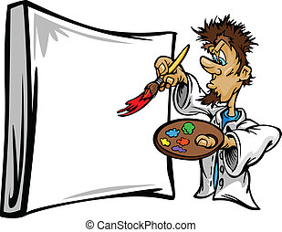 Artistic Painter Painting Canvas Cartoon Vector Illustration...