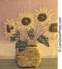 artistic painting of sunflowers handwoven