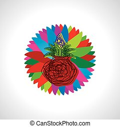 artistic pinnacle with colorful round